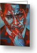 Barack Drawings Greeting Cards - 44 Greeting Card by Steve Hunter