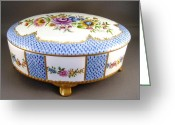 Color Ceramics Greeting Cards - 444 German Porcelain Box Greeting Card by Wilma Manhardt