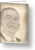 Barack Drawings Greeting Cards - 44th President Barack Obama by Artist Fontella Moneet Farrar Greeting Card by Fontella Farrar