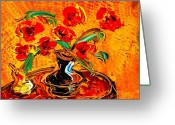 Sunset Framed Prints Painting Greeting Cards - Flowers Greeting Card by Mark Kazav