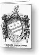 Coat Of Arms Of George Washington Greeting Cards - George Washington Greeting Card by Granger