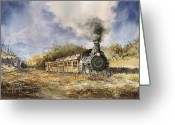 Trains Painting Greeting Cards - 481 From Durango Greeting Card by Sam Sidders