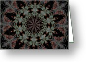 Star Points Greeting Cards - 484 Black and Grey Pattern Greeting Card by Sandra W Morris