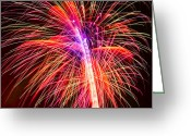 Pledge Of Allegiance Greeting Cards - 4th of July - Independence Day Fireworks Greeting Card by Gordon Dean II