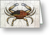 United States Flag Greeting Cards - 4th of July Crab Greeting Card by Charles Harden