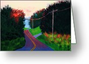 Yellow Line Greeting Cards - 4th of July Sunset Greeting Card by Laurie Breton