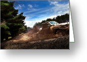 Four-wheel Greeting Cards - 4x4 Mudbash Greeting Card by Tim Nichols