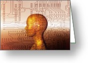 Science Fiction Tapestries Textiles Greeting Cards - Artificial Intelligence Greeting Card by Mehau Kulyk
