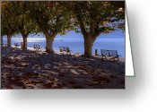 Benches Greeting Cards - Ascona - Lake Maggiore Greeting Card by Joana Kruse