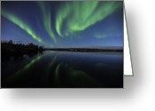 Wispy Greeting Cards - Aurora Borealis Over Long Lake Greeting Card by Jiri Hermann