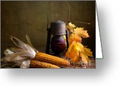 Wicker Basket Greeting Cards - Autumn Greeting Card by Nailia Schwarz