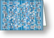 Beaches Drawings Greeting Cards - Blue Abstract Greeting Card by Frank Tschakert