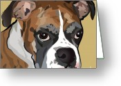 Dog Portrait Digital Art Greeting Cards - Boxer Dog Portrait Greeting Card by Robyn Saunders