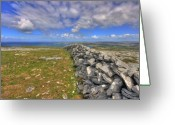 Kinvarra Greeting Cards - Burren Stone Wall Greeting Card by John Quinn