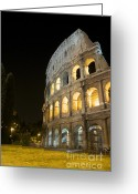Night Time Greeting Cards - Coliseum illuminated at night. Rome Greeting Card by Bernard Jaubert