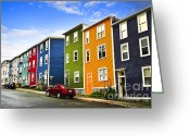 Vivid Greeting Cards - Colorful houses in St. Johns Newfoundland Greeting Card by Elena Elisseeva