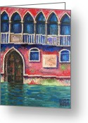 Impressionist Mixed Media Greeting Cards - FACADE on GRAND CANAL Greeting Card by Dan Haraga
