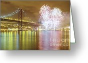 Finale Greeting Cards - Fireworks at New Years Eve in Lisbon Greeting Card by Andre Goncalves
