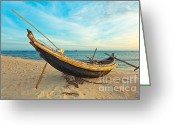 Puddle Photo Greeting Cards - Fisherman boat Greeting Card by MotHaiBaPhoto Prints