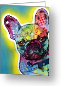 Dog Print Greeting Cards - French Bulldog Greeting Card by Dean Russo