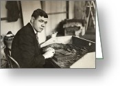 Player Photo Greeting Cards - George H. Ruth (1895-1948) Greeting Card by Granger