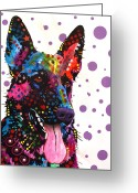 Acrylic Greeting Cards - German Shepherd Greeting Card by Dean Russo