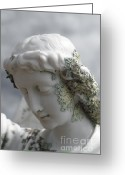 Wings Sculpture Greeting Cards - Grieving Angel Greeting Card by Yurix Sardinelly
