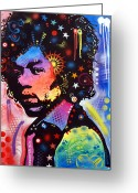 Dean Russo Greeting Cards - Jimi Hendrix Greeting Card by Dean Russo