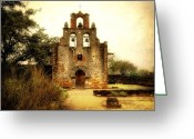 Religious Photo Greeting Cards - Mission Espada Greeting Card by Iris Greenwell
