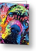 Colorful Mixed Media Greeting Cards - Neo Mastiff Greeting Card by Dean Russo