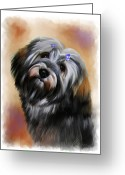 Portraits Mixed Media Greeting Cards - Pet Dog Portrait Greeting Card by Michael Greenaway