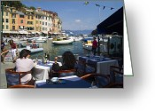 Cruise Ship Greeting Cards - Portofino in the Italian Riviera in Liguria Italy Greeting Card by David Smith