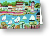 Beach Decor Digital Art Greeting Cards - 5 Sailboat resort Greeting Card by Karen Fields