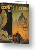 Hubert Greeting Cards - Science Fiction Magazine Greeting Card by Granger
