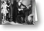 Tuxedo Greeting Cards - Silent Film Still: Fights Greeting Card by Granger