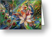 Signed Greeting Cards - The Magic Garden Greeting Card by Elena Kotliarker