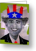 Barack Obama Mixed Media Greeting Cards - Uncle Bam Greeting Card by Teodoro De La Santa