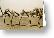 Kicking Football Greeting Cards - 5 Uniformed Football Players 1920s Greeting Card by Archive Holdings Inc.
