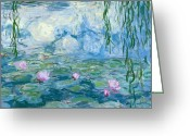 Lilly Pad Painting Greeting Cards - Waterlilies Greeting Card by Claude Monet