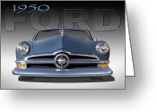 Ford Street Rod Greeting Cards - 50 Ford Custom Convertible Greeting Card by Mike McGlothlen