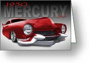 Street Rod Greeting Cards - 50 Mercury Lowrider Greeting Card by Mike McGlothlen