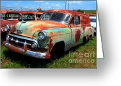 Photographers Ellipse Greeting Cards - 50s Chevy Panel Wagon at The Auto Ranch Greeting Card by Corky Willis Atlanta Photography