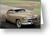 "\\\""photo Manipulation\\\\\\\"" Greeting Cards - 51 Chevrolet Deluxe Greeting Card by Bill Dutting"