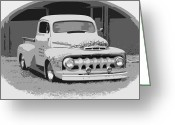 Fifties Buick Greeting Cards - 51 Ford Pickup  Greeting Card by Steve McKinzie