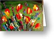 Flower Photography Painting Greeting Cards - Tulips Greeting Card by Mark Kazav