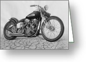 Biker Greeting Cards - 55 Pan Head Greeting Card by Tim Dangaran