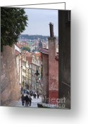 Cityscape Pyrography Greeting Cards - Prague Greeting Card by Andre Goncalves