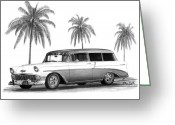Hot Rod Drawings Greeting Cards - 56 Chevy Wagon Greeting Card by Peter Piatt