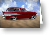 Wheels Greeting Cards - 57 Belair Nomad Greeting Card by Mike McGlothlen