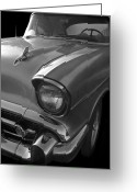 Shine Greeting Cards - 57 Chevy Bel Air Greeting Card by Debra and Dave Vanderlaan